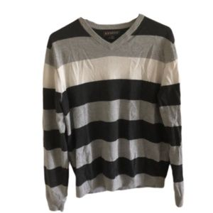 Grey And White Toned Stripped Sweater Size Medium